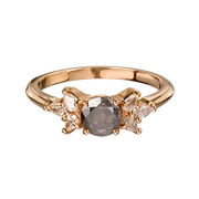 'Melanie' Rose recycled Gold Grey Salt and Pepper Diamond Engagement Ring
