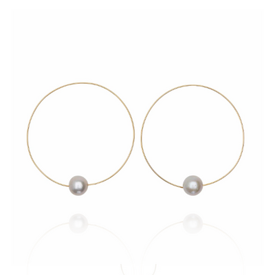 EC One Melissa McArthur Grey Pearl Hoop Earrings