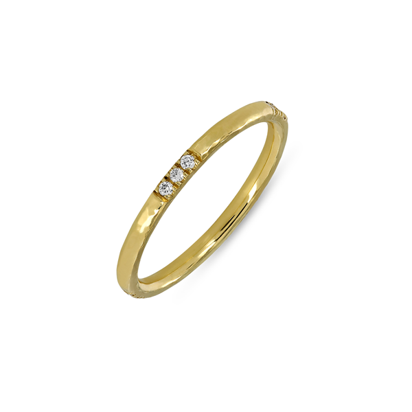 EC One 'Alice' recycled Gold Diamond Hammered Wedding Ring