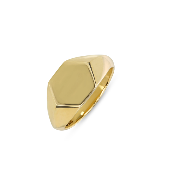 EC One Hexagonal recycled Gold Signet Ring