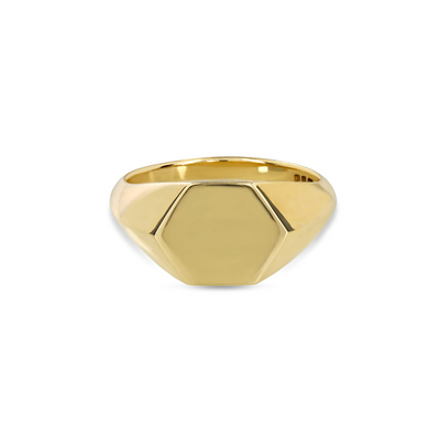 EC一Hexagonal recycled Gold Signet Ring