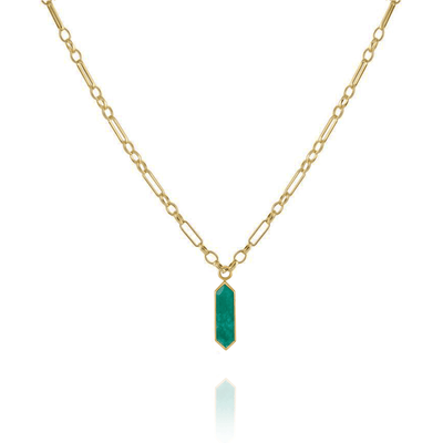 """Roma"" Chain Necklace with ""Hexa"" Emerald-Quartz Plaque"