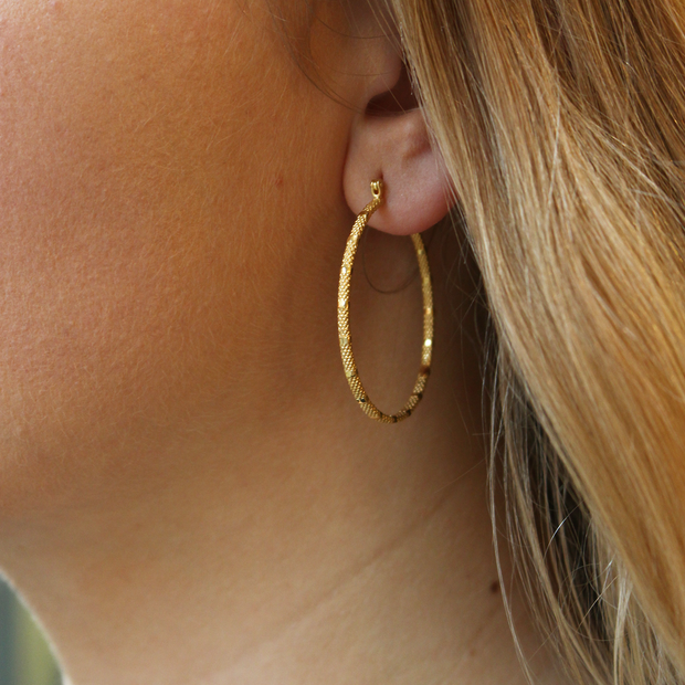 Large Skinny  'Fracture' Hoops with Texture Gold Plated