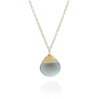 Pear Shaped Grey Moonstone Gold Chain Necklace
