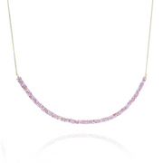 Pink Sapphire Bar Gold Necklace