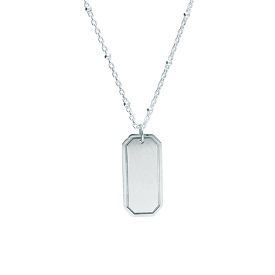 EC One Rectangular recycled Silver Pendant engrave