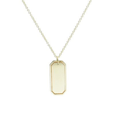 EC One Rectangular recycled Gold Pendant engrave
