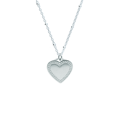 EC One Heart recycled silver Pendant engrave