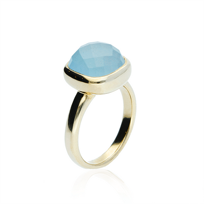 EC One Aquamarine recycled Gold 'Lauren' Ring