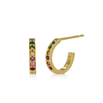 Kaleidoscope Rainbow Gold Sapphire Diamond Hoop Earrings