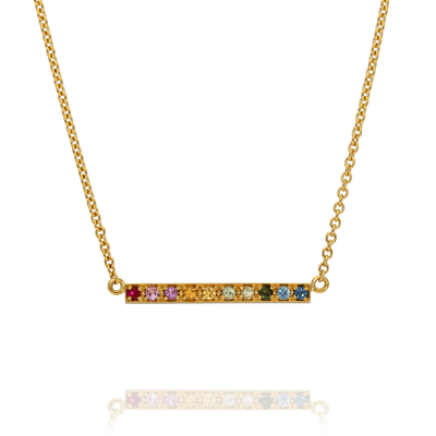 "Long ""Kaleidoscope"" Gold Bar Necklace"