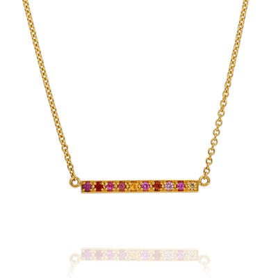 EC One Long Kaleidoscope Gold Bar Necklace in Mixed Pink & Red Gemstones