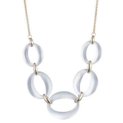 Large Silver Lucite Link Necklace