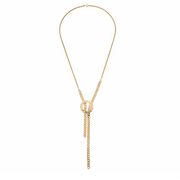 Long Gold Mixed Chain Lariat Necklace