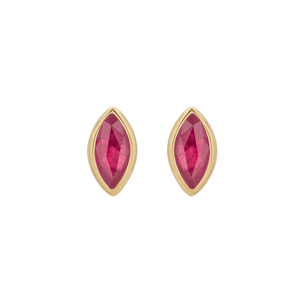 EC One Metier Marquise Ruby and Gold Studs Pair