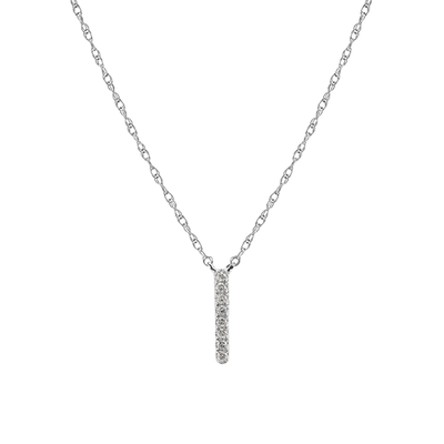 White Gold White Diamond Bar Necklace