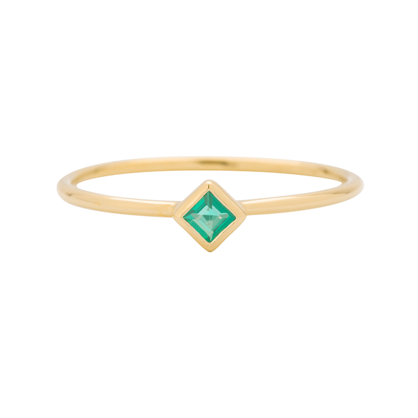 EC One Metier Princess Cut Emerald Gold Stacking Ring
