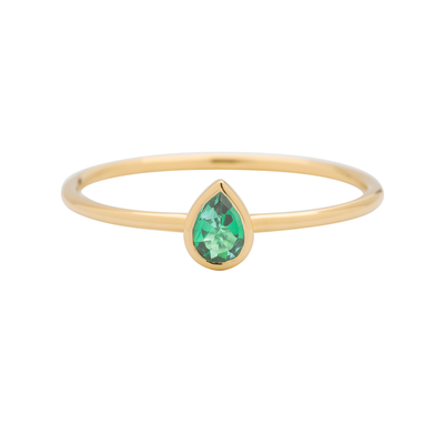 EC One Metier gold stacking ring emerald pear-shaped