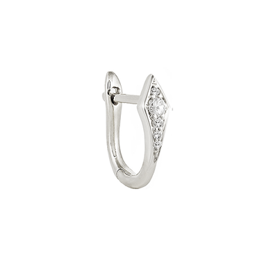 Single Diamond Point Huggie Earring