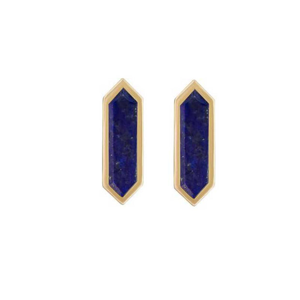 Hexa shaped Lapis and Gold Studs by Metier