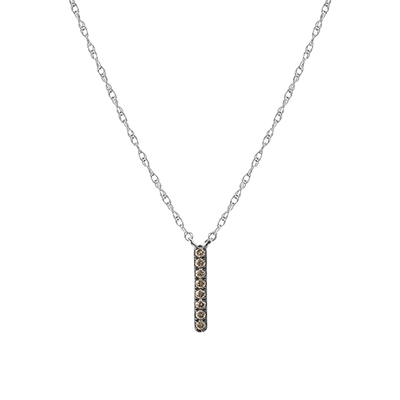 White Gold Champagne Diamond Bar Necklace