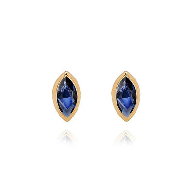 Marquise Sapphire Gold Studs by metier