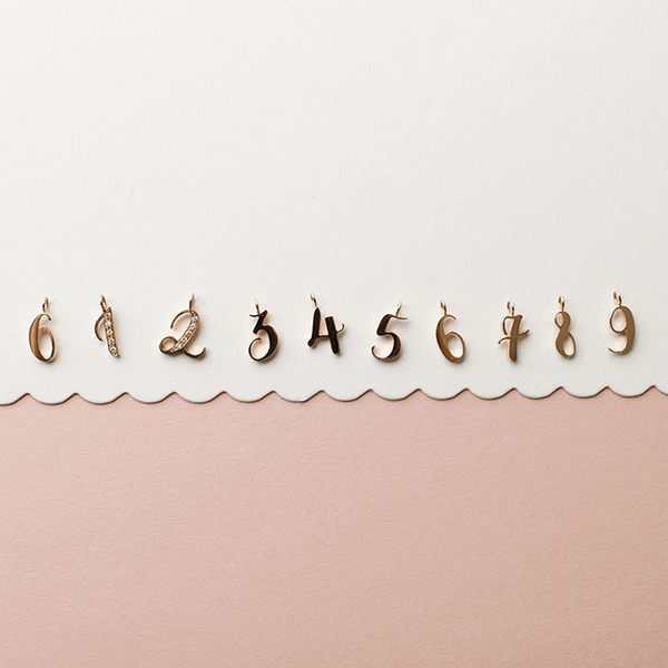 EC One recycled Gold number charms