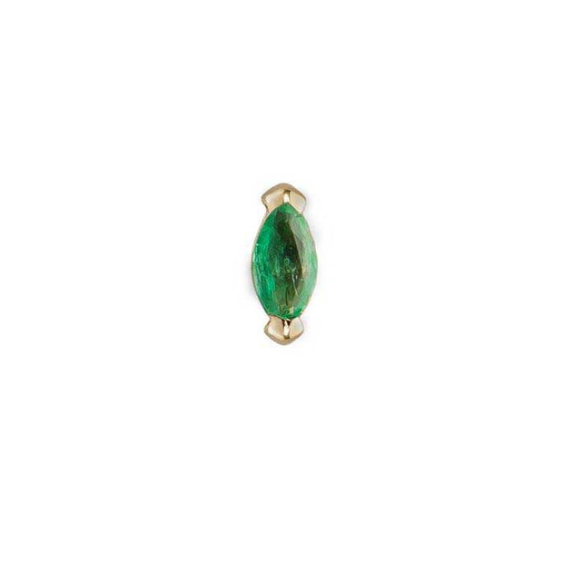 Single Claw mini Marquise Emerald Stud by metier