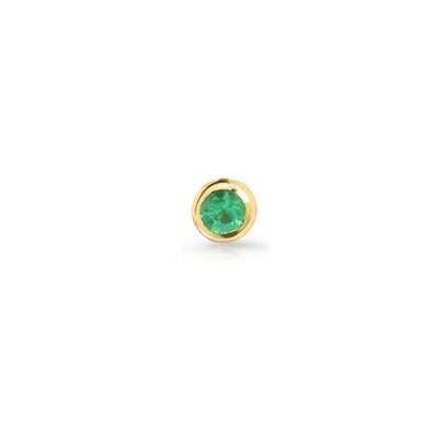 "EC One Single Mini ""Dainty"" Yellow Gold and Emerald Stud Earring"