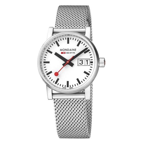 Evo Watch Big Date 30mm case White dial Stainless Steel Mesh strap