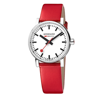 Evo Watch 35mm Case White dial Red leather strap