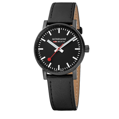 Evo Watch 35mm Black Case Black dial Black leather strap