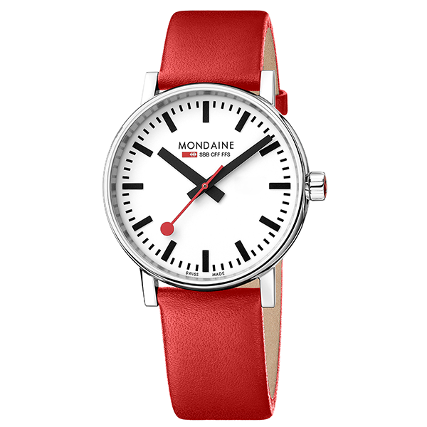 Evo Watch 40mm Case White dial Red leather strap