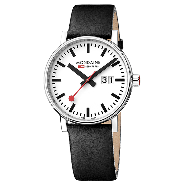 Evo Watch Big Date 40mm case White dial Black Leather strap