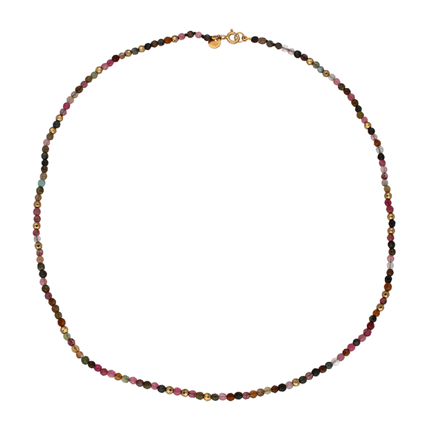 Tourmaline and Pyrite Bead Necklace