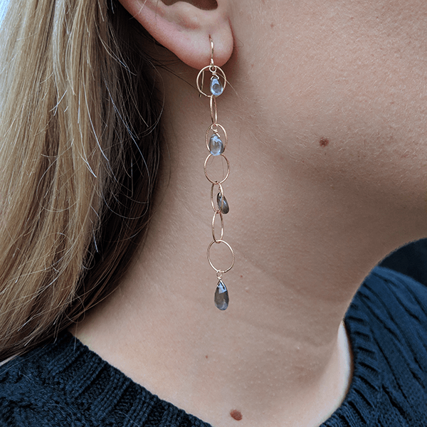 Andalosite Multi Loop Drop Gold Earrings