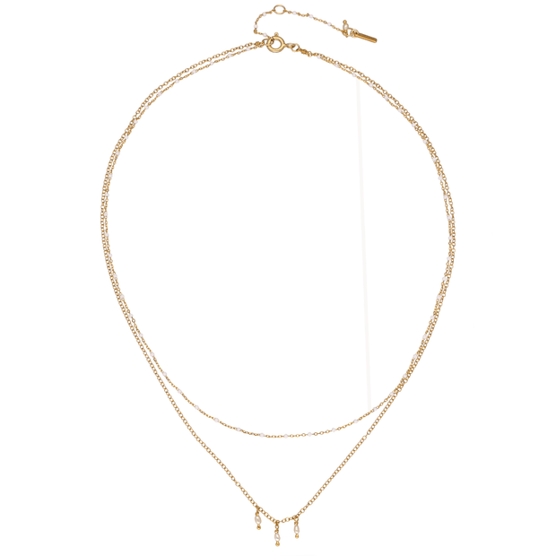 Chan Luu EC One Fine Double layered necklace with white pearls & beads