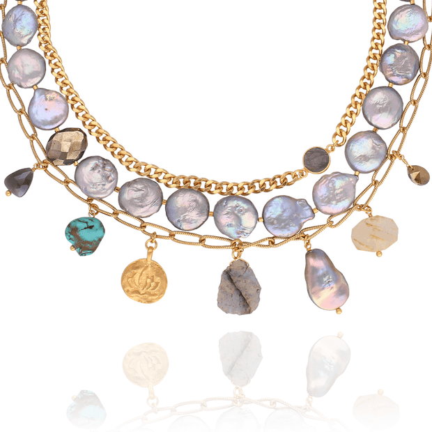 Chan Luu Multi layered Grey Pearl, Chain & Gemstone Necklace