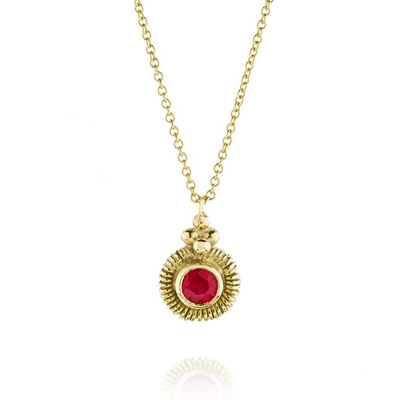 Round Ruby Gold Wrap Necklace