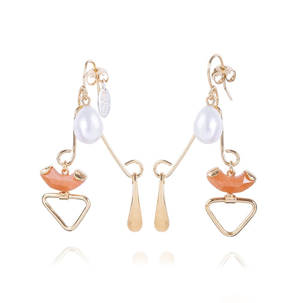 Aventurine and Pearl Gold Mobile Earrings
