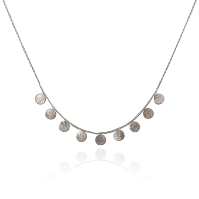 Short Paillette Silver Necklace
