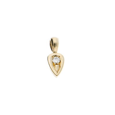 "EC One Diamond set recycled Gold ""Leaf"" charm"