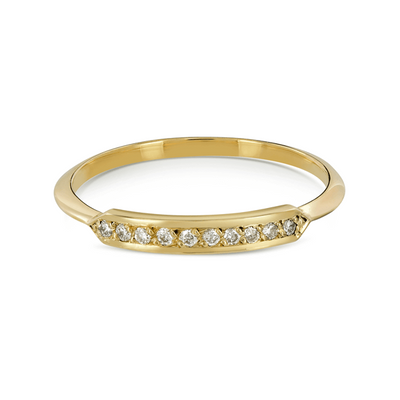 Pinnate Yellow Gold Diamond Stacking Ring