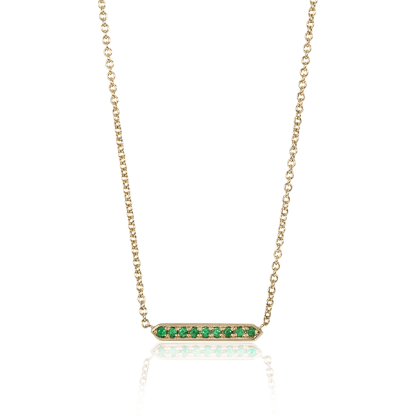 Pinnate Yellow Gold Emerald Necklace