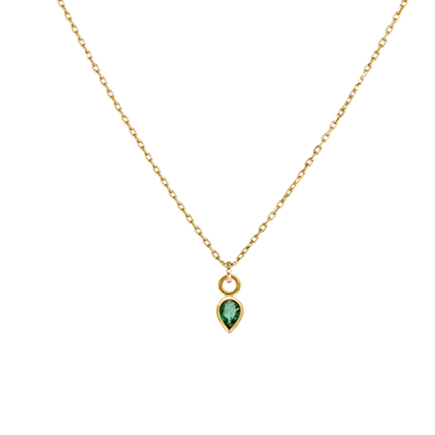 EC One Metier Pear Shape Emerald Gold Necklace