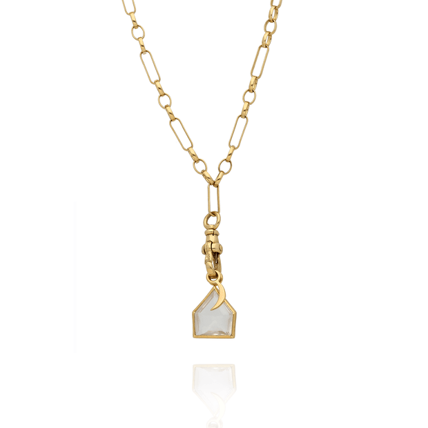 Gold Chain Necklace with Quartz Crystal and Crescent Moon Charms