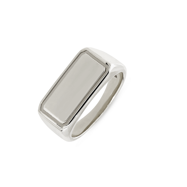 EC One Rectangular recycled Silver Signet Ring engrave