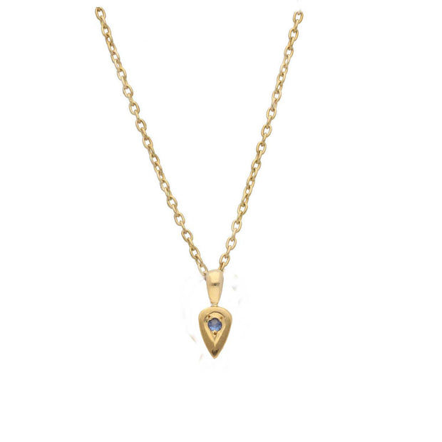 EC One Blue Sapphire set Gold Little Leaf Necklace