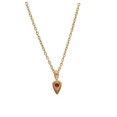 EC One Ruby set Gold Little Leaf Necklace