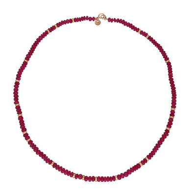 Ruby and Gold Bead Necklace